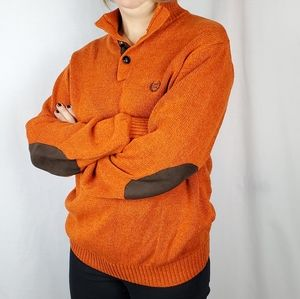 CHAPS sz L orange cotton knit sweater w/ patches